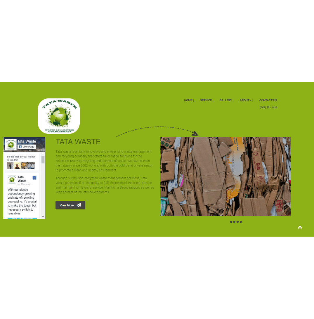 tata waste website developed by Nkolex (pty) ltd